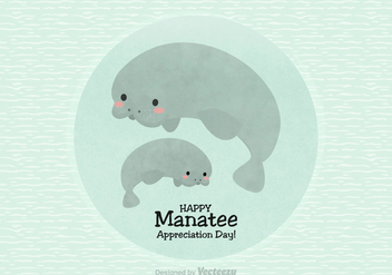 Happy Manatee Appreciation Day Vector - Free vector #427289