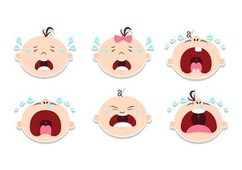 Crying Baby Sticker Design Vectors - бесплатный vector #427429