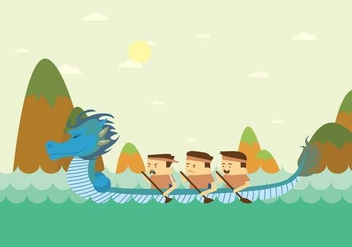 Green Dragon Boat Festival Illustration - Free vector #427679