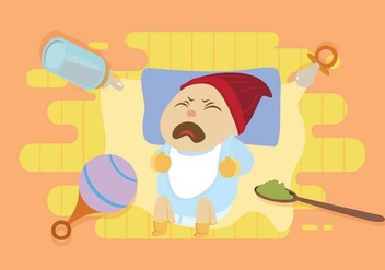Free Crying Baby With Blue Shirt Illustration - Free vector #427739