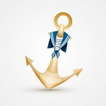 Vector illustration of gold anchor with blue and white sailor's striped vest on white background - Free vector #125729