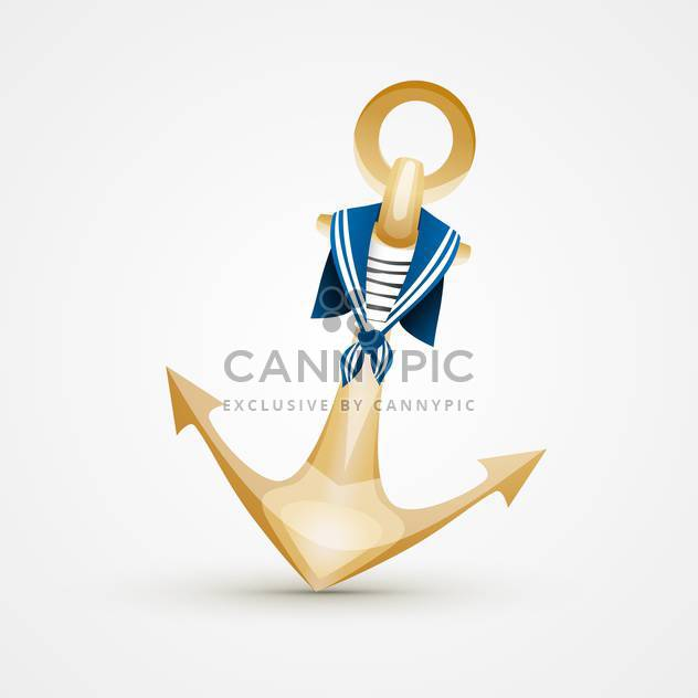 Vector Illustration Of Gold Anchor With Blue And White Sailors Striped Vest On Background