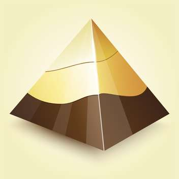 Vector illustration of golden geometric pyramid on beige background - vector gratuit #125739