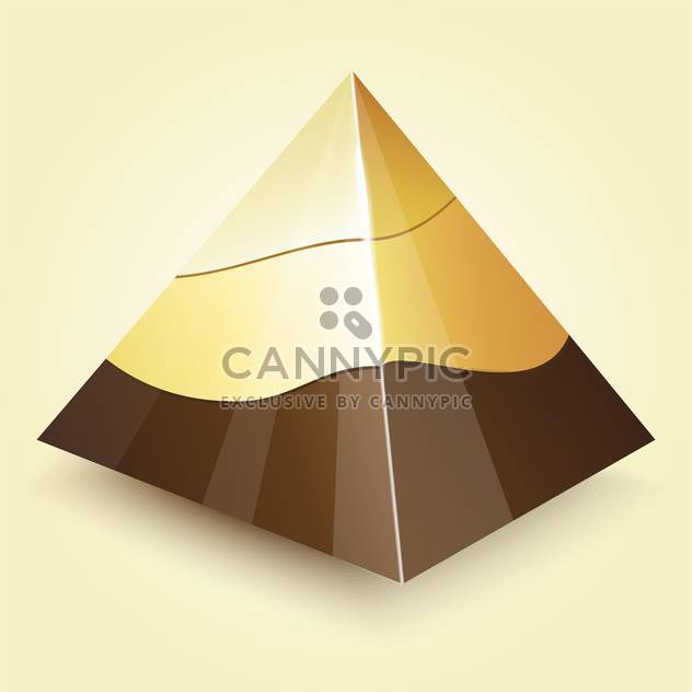 Vector illustration of golden geometric pyramid on beige background - Free vector #125739