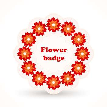 Vector badge with red flowers in cirle on white background - бесплатный vector #125859