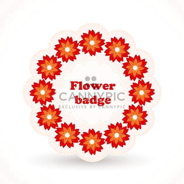 Vector badge with red flowers in cirle on white background - Free vector #125859