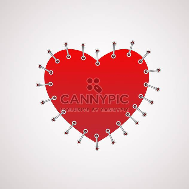 Vector illustration of red heart with seam on white background - Free vector #125879