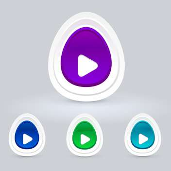Vector set of colorful egg shape play web buttons on grey background - vector gratuit #125899