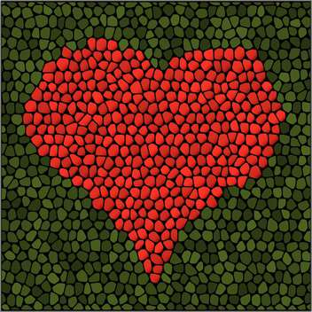 Vector illustration of artistic red mosaic heart on green background - бесплатный vector #125919