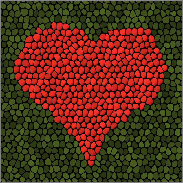 Vector illustration of artistic red mosaic heart on green background - Free vector #125919
