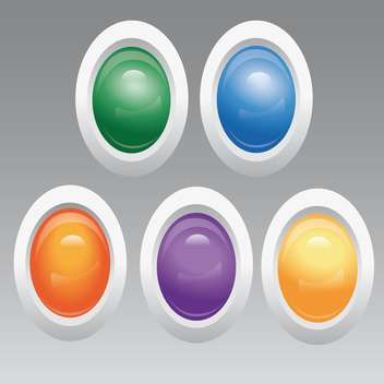 Vector set of egg shape colored buttons on grey background - бесплатный vector #125979