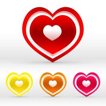 Vector set of colored hearts on white background - vector gratuit #125989