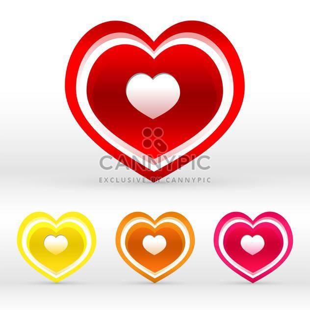 Vector set of colored hearts on white background - Free vector #125989