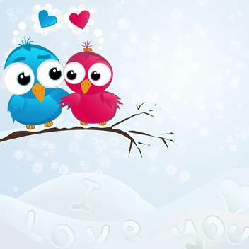 Vector illustration of cute birds couple in love sitting on branch in winter - бесплатный vector #125999