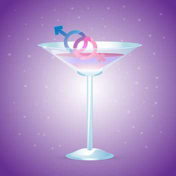 Cocktail glass with male and female signs on purple background - vector gratuit #126059