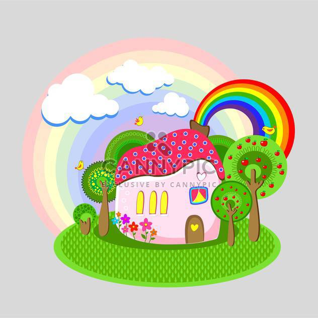 Vector illustration of colorful cartoon house with rainbow - Free vector #126079