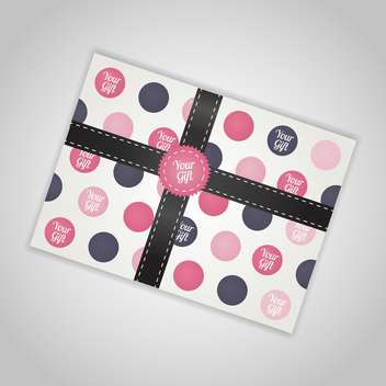 Vector illustration of gift box in colorful dots with ribbon on white background - Free vector #126089