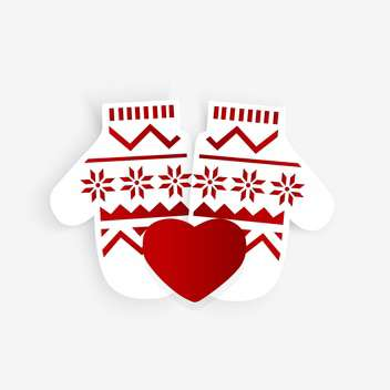Vector illustration of mittens with ornament and red heart on white background - Free vector #126099