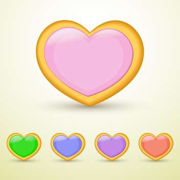Vector set of colorful hearts on beige background - бесплатный vector #126109