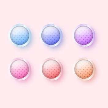 Vector illustration of six round colorful glossy buttons on pink background - vector gratuit #126149