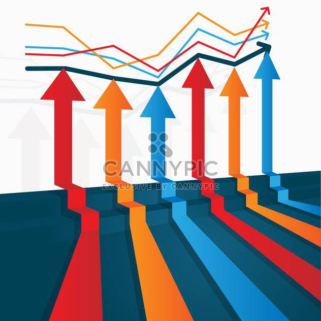 Vector illustration of colorful upwards arrows on business graph - Free vector #126169