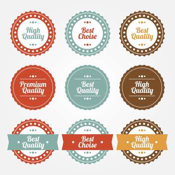 collection set of premium and high quality round labels on white background - vector gratuit #126179