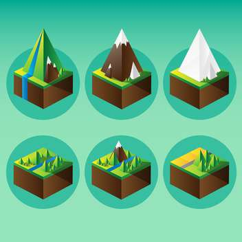Vector illustration of mountain graphic elements on green background - Free vector #126189