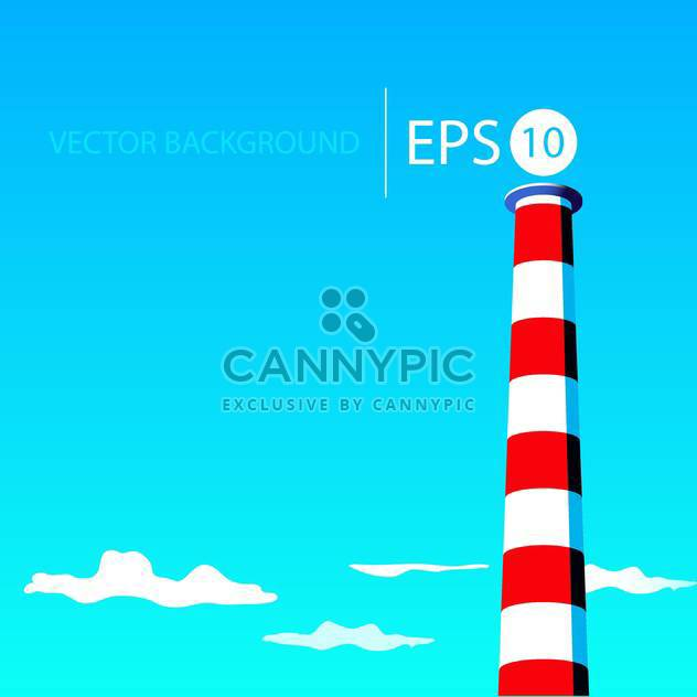 Vector illustration of colorful red and white lighthouse on blue sky background - vector gratuit #126209
