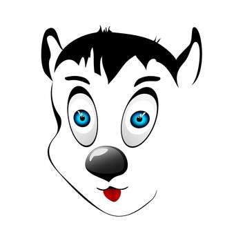 Vector illustration of cartoon dog face on white background - vector #126219 gratis