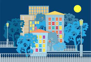 Vector illustration of architectural background on blue background - Free vector #126229
