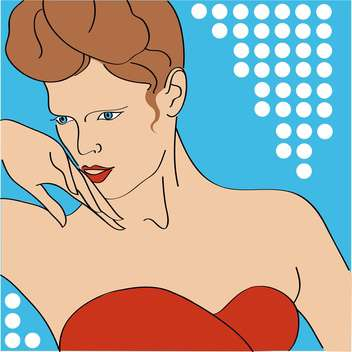 Vector portrait of sexy girl with beautiful hairstyle on blue background - vector gratuit #126269