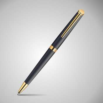 Vector illustration of metal black and gold colors pen on grey background - Free vector #126289