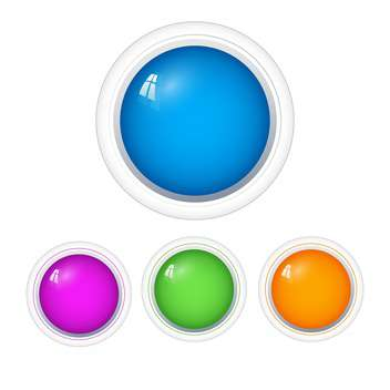 vector set of colorful web round buttons on white background - vector gratuit #126339