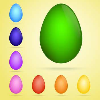 Vector set of colored tradition easter eggs on yellow background - бесплатный vector #126379