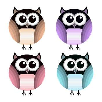 vector set of different colorful owls on white background - Free vector #126399