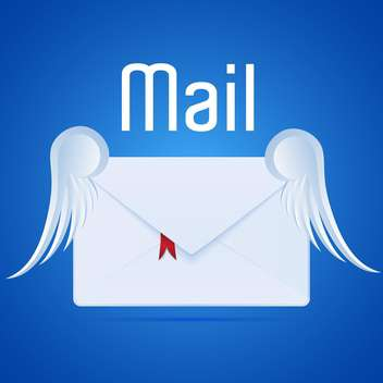 Vector illustration of white mail letter with wings on blue background - Free vector #126429
