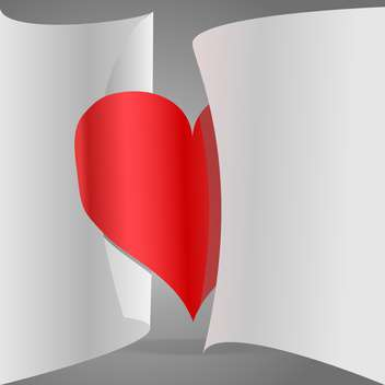 vector illustration of paper red heart on grey background - бесплатный vector #126509