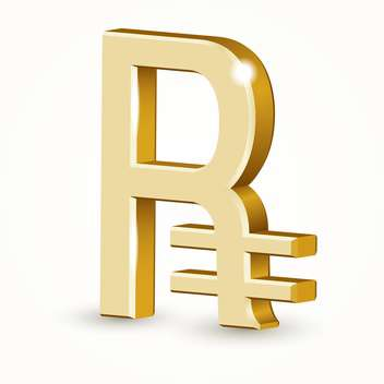 Vector illustration of golden russian ruble sign isolated on white background - Free vector #126589