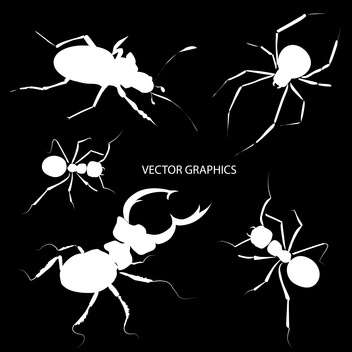Vector illustration of white bugs silhouettes on black background - vector gratuit #126599