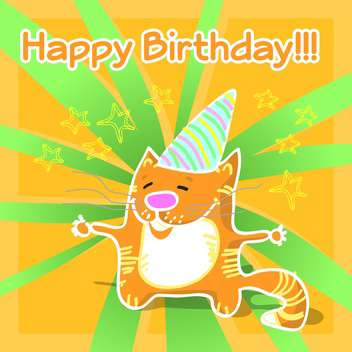 Vector illustration of greeting birthday card with cartoon orange cat - vector gratuit #126609