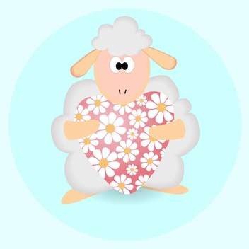 Vector illustration of cartoon sheep with floral heart - vector gratuit #126649