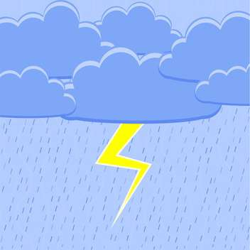 colorful illustration of blue rain with yellow lightning - vector gratuit #126679