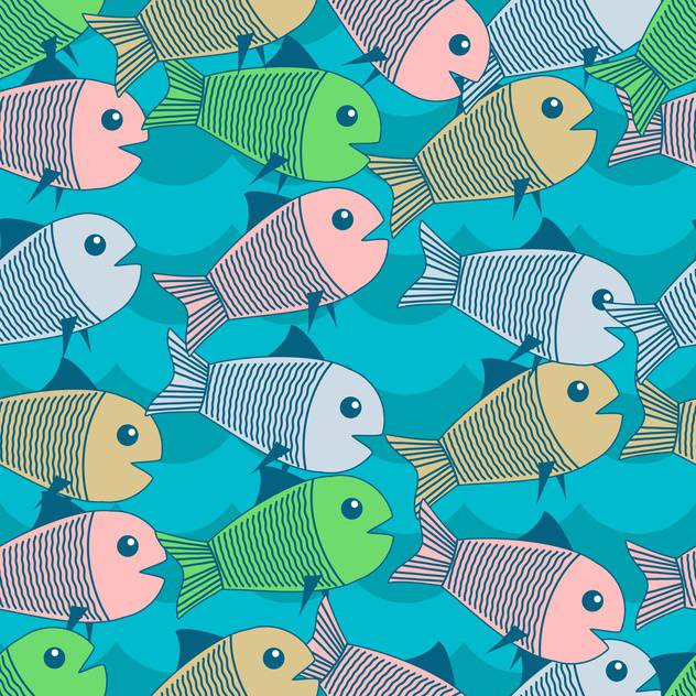 Vector background with cute colorful fish - Free vector #126699