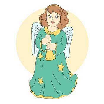 Vector illustration of cute angel with wings and bell in hands - Free vector #126799