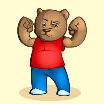 Vector illustration of cartoon strong bear on beige background - vector gratuit #126959