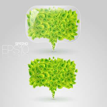 speech bubbles of green leaves on grey background - vector gratuit #126969