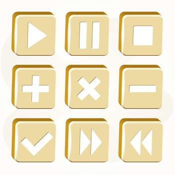 Vector set of golden buttons on white background - Free vector #127009