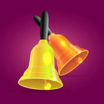 Vector illustration of golden bells on purple background - vector gratuit #127109