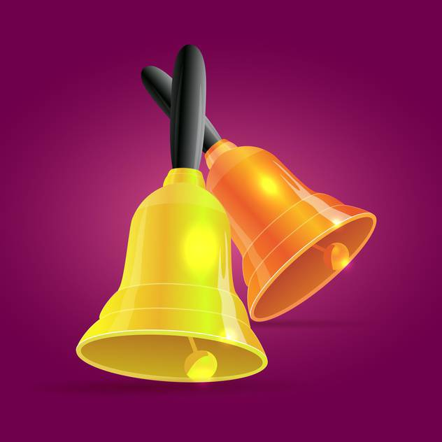 Vector illustration of golden bells on purple background - Free vector #127109