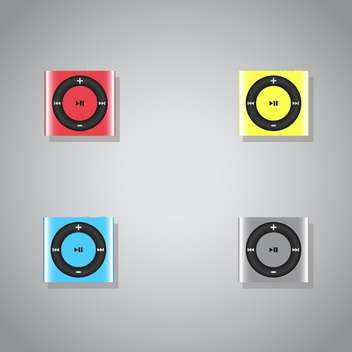 vector set of colorful mp3 players on grey background - vector gratuit #127129